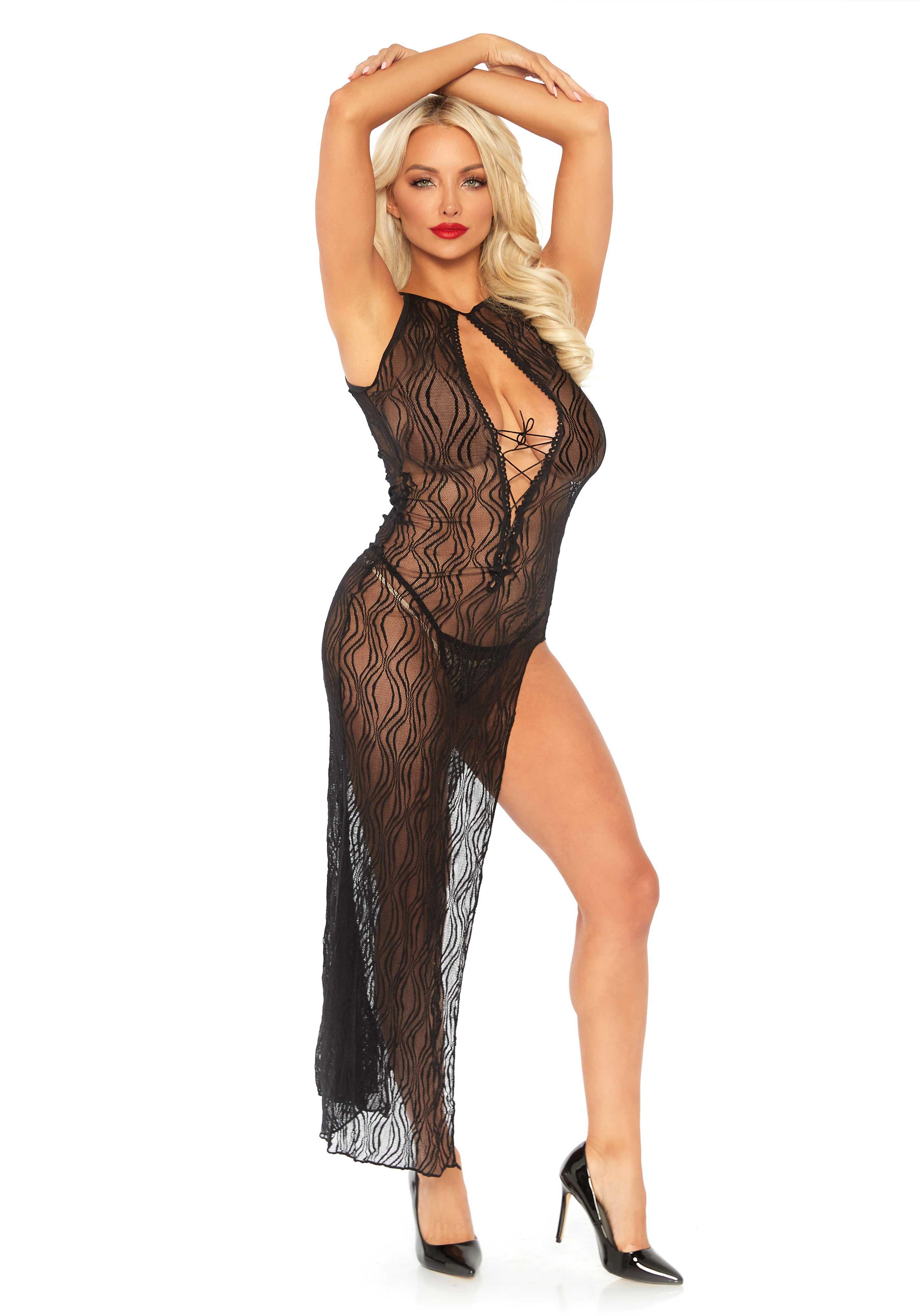 bd25a03a4c Leg Avenue Lingerie: elegante abito lungo in pizzo nero | Lingerietorino