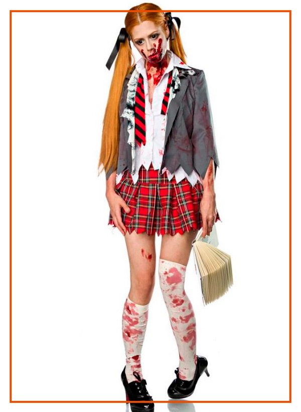 costume zombie schoolgirl scolaretta non morta halloween